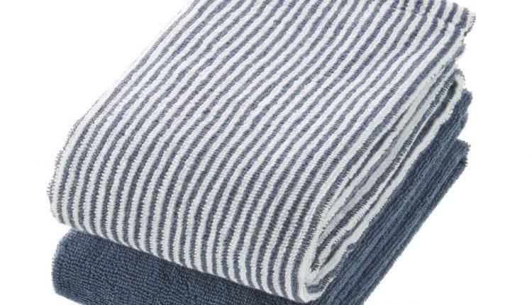 棉直紋面用巾組(34x85cm),260元:直紋毛巾和素面毛巾的2件組。最適合清洗替換。 (1)