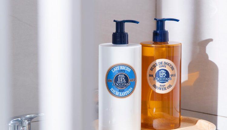 L'OCCITANE-乳油木保濕沐浴油-乳油木保濕身體乳情境照