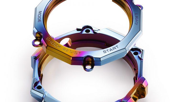 雙層結構的錶殼與錶圈,獨立施以彩虹離子IP處理